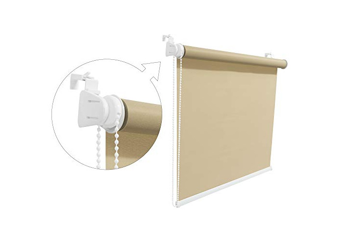Tropik home Brown Window Roller Blind Choice of 19 Width Sizes, 200cm Length/Drop, 75cm wide (+4.5cm fittings) - 1