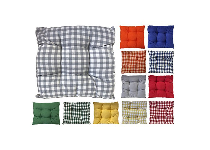Tropik home Colourful Seat Pads, Garden Kitchen Dining Chair Cushions Tie On (Grey Gingham) - 1