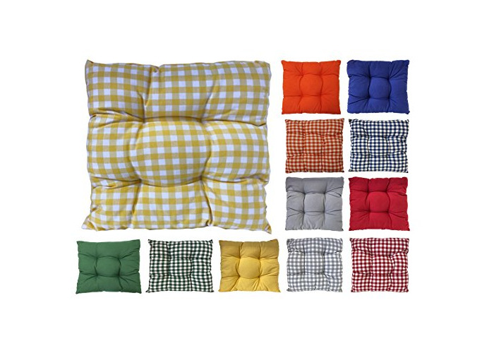 Tropik home Colourful Seat Pads, Garden Kitchen Dining Chair Cushions Tie On (Yellow Gingham) - 1