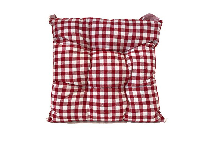Tropik home Comfortable Seat Pads, Garden Kitchen Dining Chair Cushions Tie On (Gingham Red) - 1