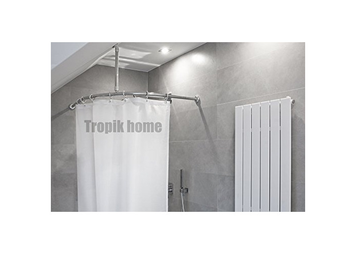Tropik home Curved Shower Curtain Rail Pole Rod With Ceiling Bracket and Hooks (90 x 90cm, Chrome) - 1