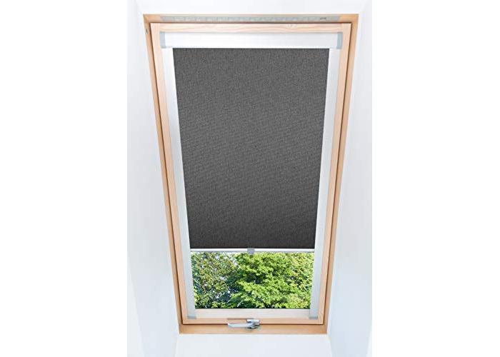 Tropik home Dark Grey Blackout Thermal Skylight Roller Blinds For Velux Roof Windows, Many Sizes (M08/308/2) - 1