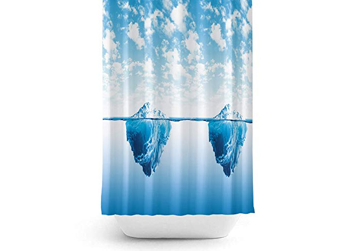 Tropik home Fabric Shower Curtain With Nautical Print, Extra Long and Wide, 240cm Width x 200cm Drop - 1