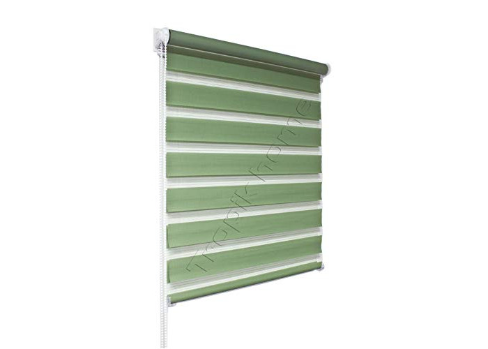 Tropik home Green Day and Night Zebra/Vision Window Roller Blind, Choice of 16 Width Sizes, 75cm Wide (+4.5cm fittings) - 1