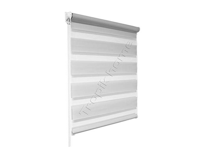 Tropik home Grey Day and Night Zebra/Vision Window Roller Blind, Choice of 16 Width Sizes, 75cm Wide (+4.5cm fittings) - 1