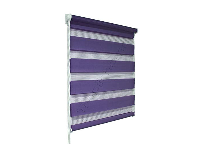 Tropik Home Lilac Day and Night Zebra/Vision Window Roller Blind, Choice of 16 Width Sizes, 95cm Wide (+4.5cm fittings) - 1