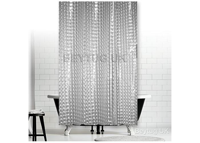 Tropik home New Transparent 3D PEVA Mosaic Bath Shower Curtain Extra Narrow Width Extra Long (120x200CM) - 1