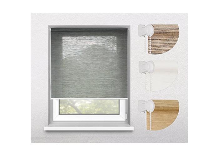 Tropik home Oriental Bamboo-Like Natural Window Roller Blind, 16 Width Sizes, 4 Designs, 105cm (+4.5cm Fittings), Elephant Grey - 1