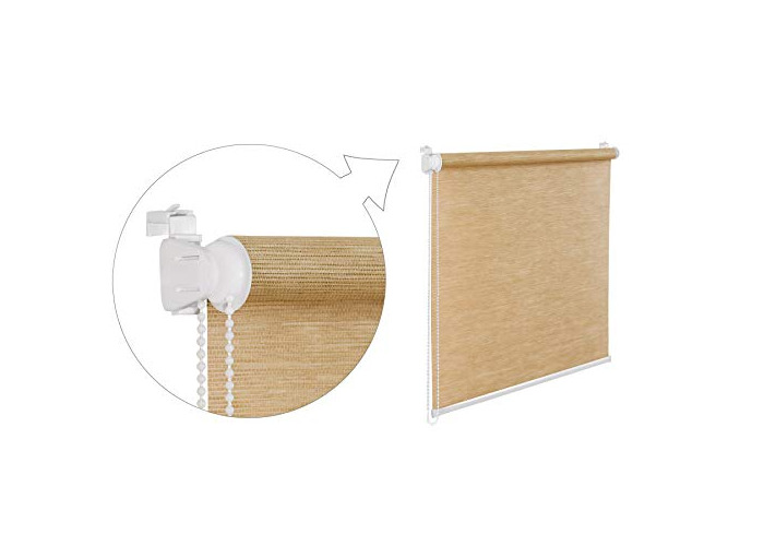 Tropik home Oriental Bamboo-Like Natural Window Roller Blind, 16 Width Sizes, 4 Designs, 105cm (+4.5cm Fittings), Straw - 1