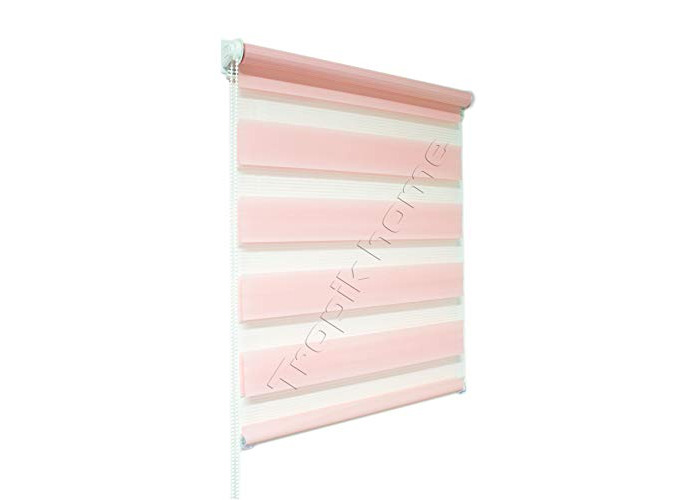 Tropik home Pink Day and Night Zebra/Vision Window Roller Blind, Choice of 16 Width Sizes 45cm Wide (+4.5cm fittings) - 1