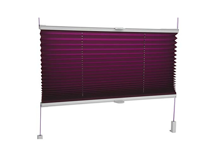 Tropik home Pleated Blinds 18 Width Sizes, 6 Colours Easy Fit Install Plisse Conservatory Blinds - Dark Violet, 95cm Wide by 100cm Drop - 1