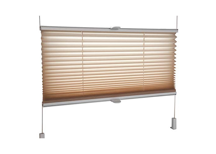 Tropik home Pleated Blinds 18 Width Sizes, 6 Colours Easy Fit Install Plisse Conservatory Blinds, Sand, 115cm Wide 100cm Drop - 1