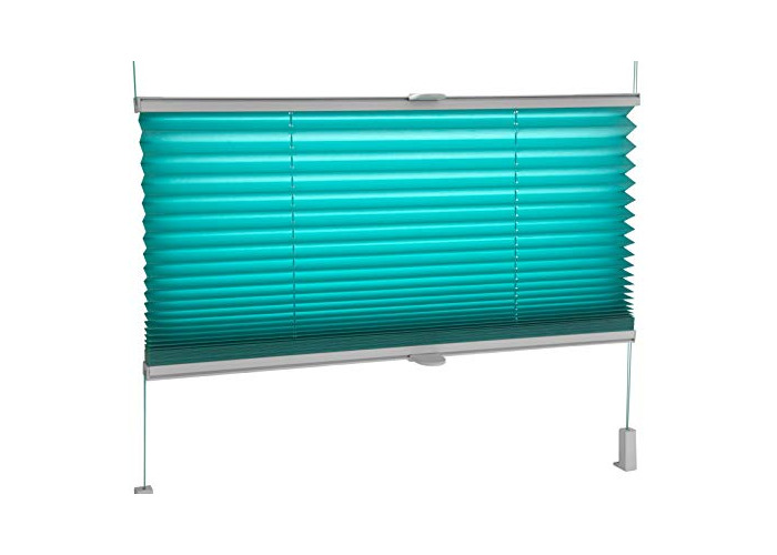 Tropik home Pleated Blinds 18 Width Sizes, 6 Colours Easy Fit Install Plisse Conservatory Blinds, Turquoise, 110cm Wide by 150cm Drop - 1