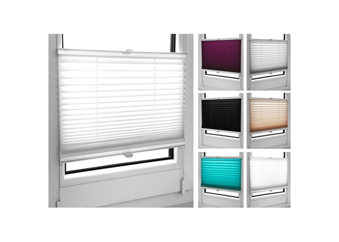 Tropik home Pleated Blinds 18 Width Sizes, 6 Colours Easy Fit Install Plisse Conservatory Blinds, White, 120cm Wide by 100cm Drop - 1