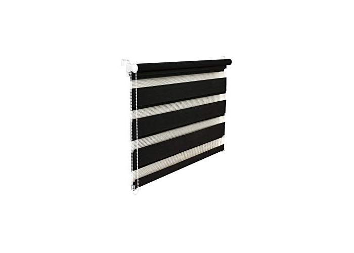Tropik Home Quality Black Zebra/Vision Window Roller Blind, Choice of 16 Width Sizes, 120cm Wide (+4.5cm fittings) - 1