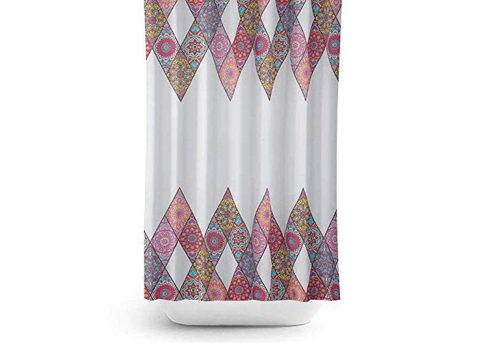 Tropik home Quality Extra Long, Extra Wide Fabric Shower Curtain - Patchwork (240X200CM) - 1