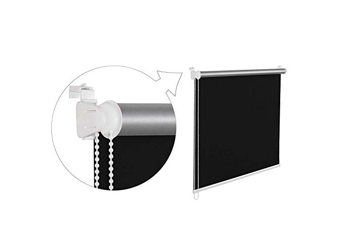 Tropik Home Quality Thermal Blackout Window Roller Blind Available in 16 Width Sizes, 100cm wide (plus 4.5cm fittings) in Black - 1