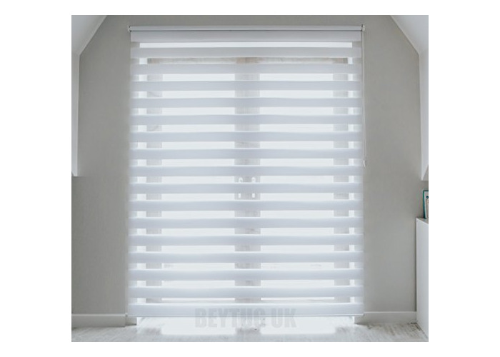 Tropik Home Quality White Zebra/Vision Window Roller Blind, Choice of 16 Width Sizes, 60cm Wide (+4.5cm fittings) - 1