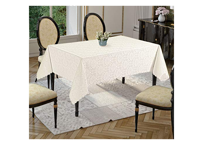 Tropik home Rectangular Extra Large Cream Polyester Tablecloth with Damask Design, available in 6 Sizes (160 x 400cm) - 1