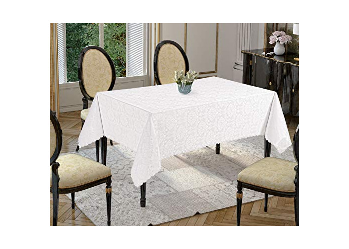 Tropik home Rectangular Extra Large White Polyester Tablecloth with Damask Design, available in 6 Sizes (160 x 400cm) - 1