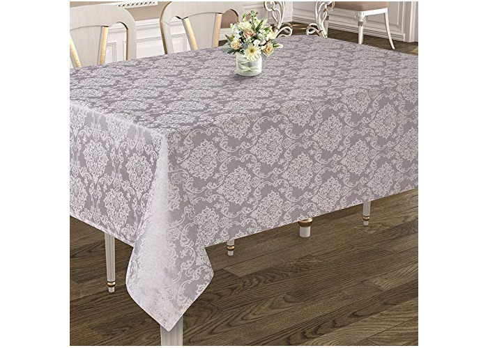 Tropik home Rectangular Large Grey Poly-Cotton Tablecloth with Damask Design, available in 4 Sizes (160x220cm) - 1