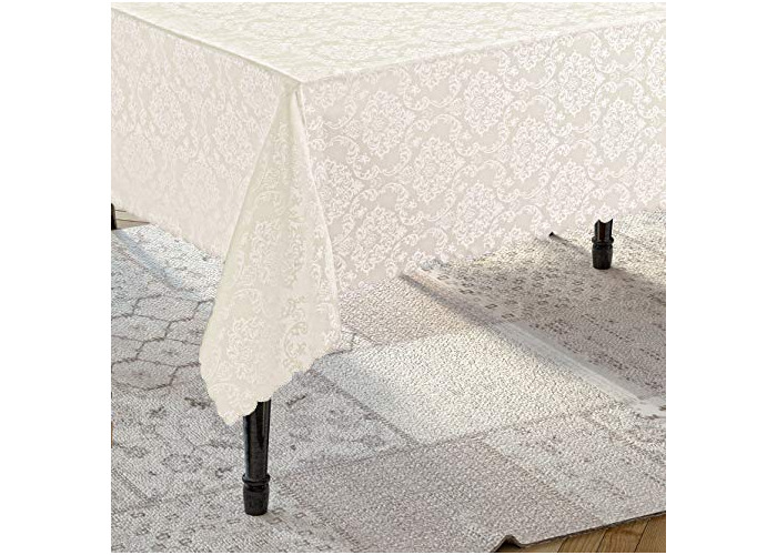 Tropik home Round Cream Polyester Tablecloth with Damask Design, available in 6 Sizes (160cm Round) - 1