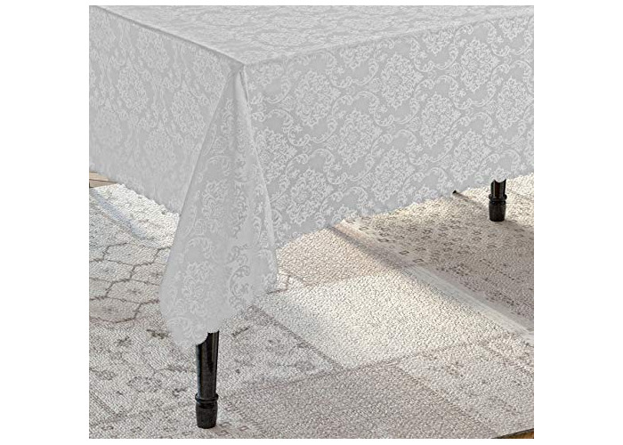 Tropik home Round Grey Polyester Tablecloth with Damask Design, available in 6 Sizes (160cm Round) - 1