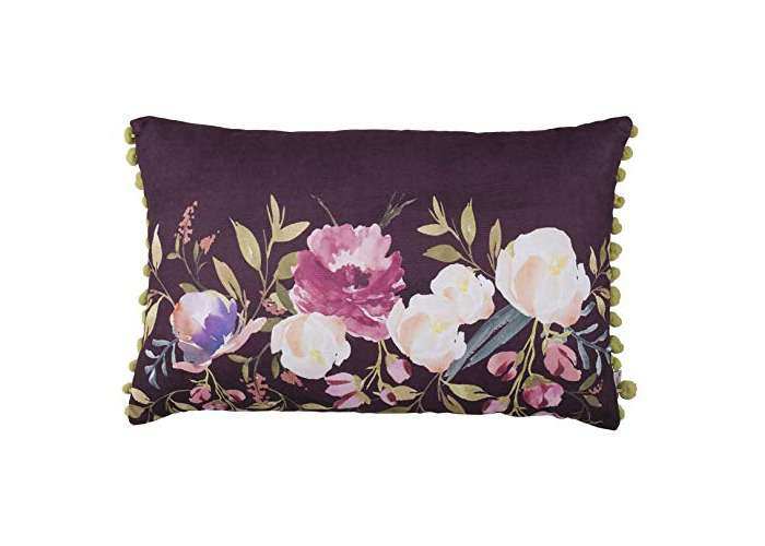 Tropik home Soft Cushion Cover Decorative Pillow Cases With Pom Poms For Chair Sofa Livingroom with Invisible Zipper 12x20 (Peony Rectangular Purple) - 1