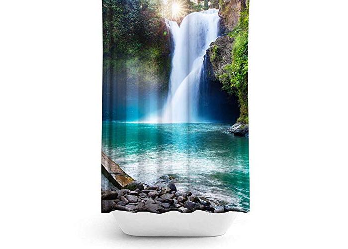 Tropik home Waterfall Extra Long Fabric Shower Curtain, 180 Wide by 200CM Drop - 1
