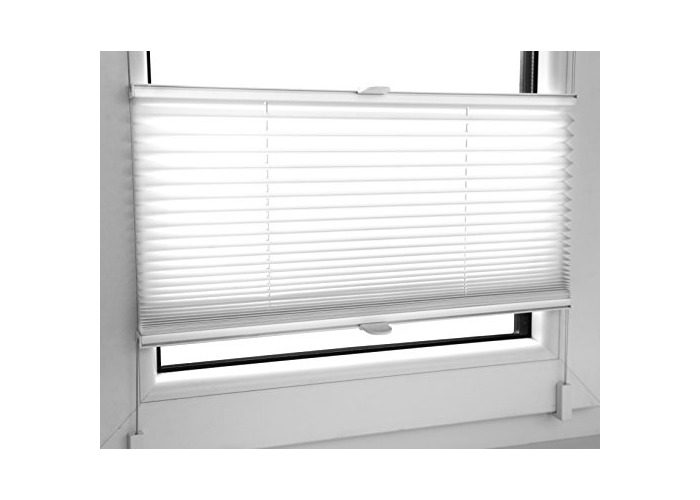 Tropik home White Pleated Blinds 18 Width Sizes, Easy Fit Install Plisse Conservatory Blinds 200cm Drop (65cm Wide) - 1