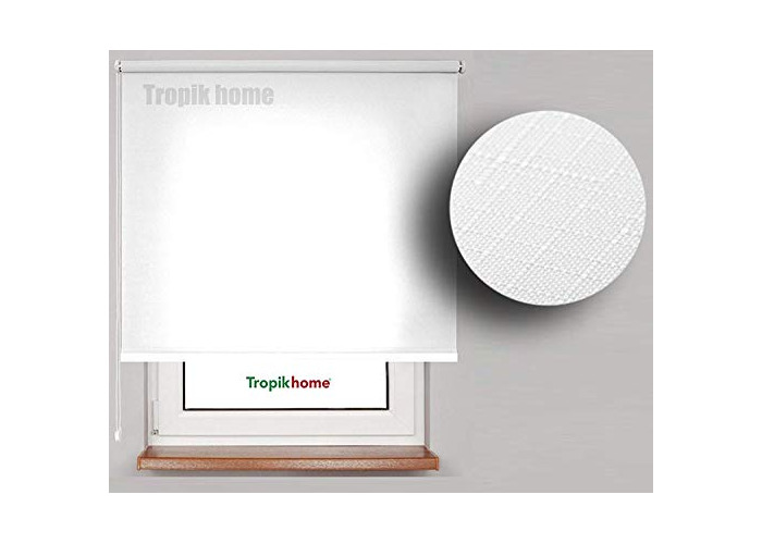 Tropik Home White Window Roller Blind, Choice of 16 Width Sizes, 120cm Wide (+4.5cm fittings) Drop 175cm - 1