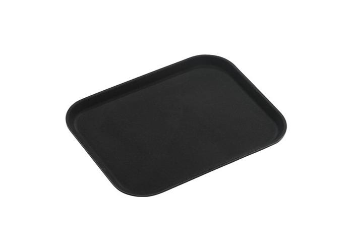 Tuffgrip Super Plastic Rubberized Anti-Skid, Non-Slip Food Tray, Retangular, 16 x 12/40 x 30cm, Black, 16x12/40x30cm - 1