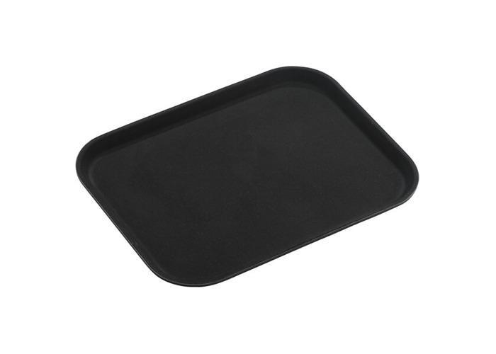 "Tuffgrip Super Plastic Rubberized Anti-Skid, Non-Slip Food Tray, Retangular, 22"" x 16"" / 55 x 40cm, Black - 1"