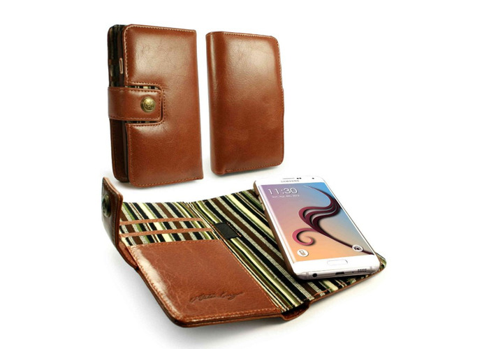 Tuff-Luv Alston Craig Vintage E-scape Tec Wallet Case for Samsung Galaxy S6 Edge Leather Brown - 1