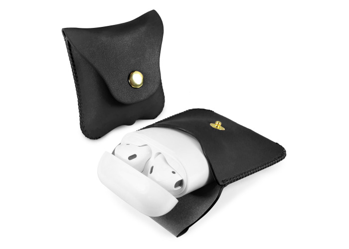 Tuff-Luv Earphone Pouch Case for Apple Airpods Faux Leather Black - 1