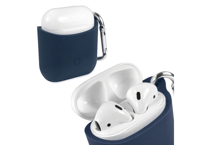 Tuff-Luv Pouch Case for Apple Airpods Headphones Silicone Blue - 1