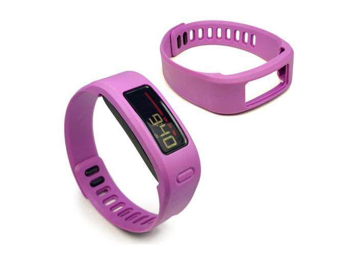 Tuff-Luv Wristband with Clasp for Garmin VivoFit 1/2 Large Purple - 1