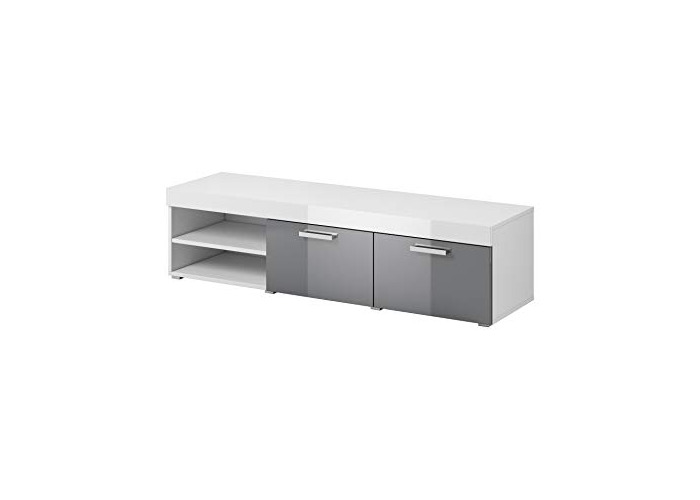 TV Unit Cabinet Stand Elsa body White mat/Fronts High gloss Grey 140 cm - 1