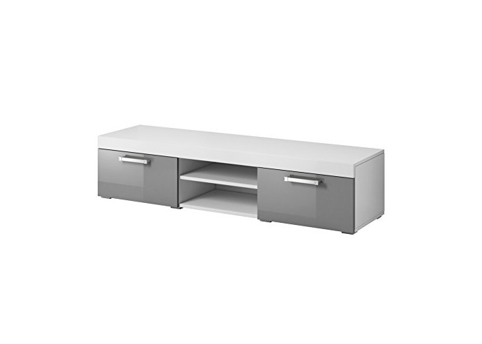 TV Unit Cabinet Stand Mambo Body White Matte/Fronts Grey High gloss 140 cm - 1