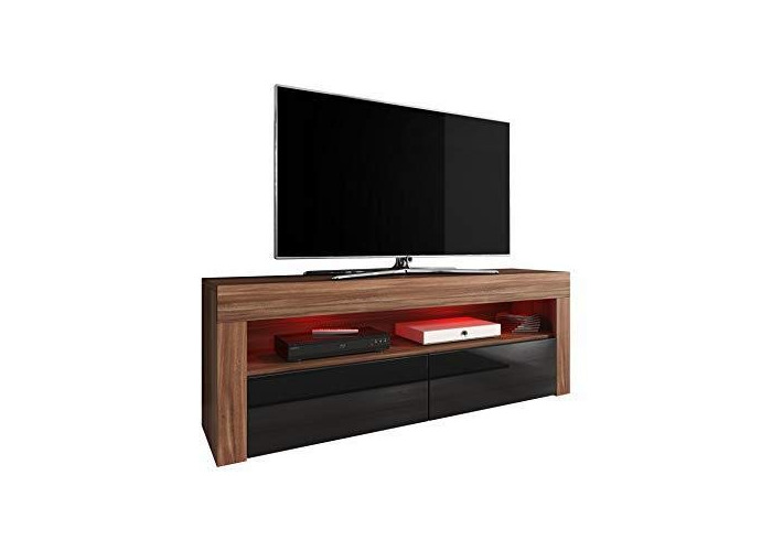 TV Unit Cabinet TV Stand Entertainment Lowboard Luna 140 cm, Body Plum tree/Fronts Black High Gloss With RGB LED - 1