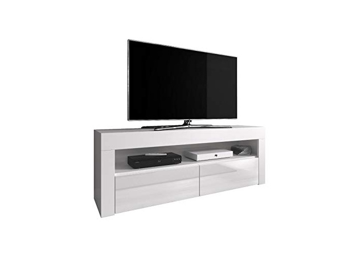 TV Unit Cabinet TV Stand Entertainment Lowboard Luna 140 cm, Body White Mat/Fronts White High Gloss (Without LED) - 1