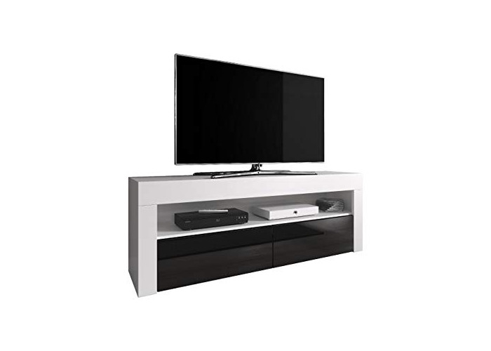 TV Unit Cabinet TV Stand Entertainment Lowboard Luna 140 cm, Body White Matte/Fronts Black High Gloss (Without LED) - 1