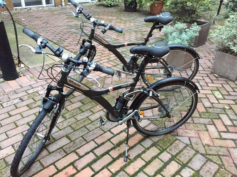 Two BTwin Original 7 Bicycles x 2, One Large, One Medium, Low Mileage, Next to New Condition, includes all accessories - 1