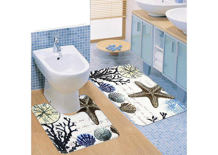 Two Pieces of Plants Shells and Starfish Slip Carpet Mats Bathroom Toilet Mat - 1