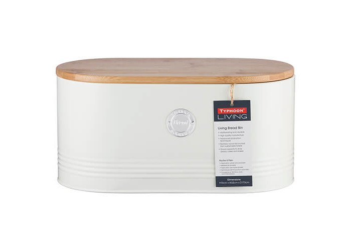 Typhoon living Stainless Steel Cream Bread Bin with Bamboo Lid - 2