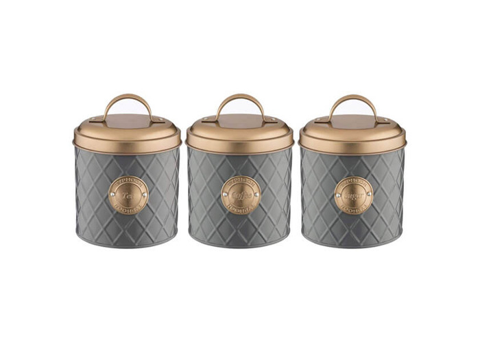Typhoon Living Stainless Steel Set of Tea Coffee Sugar Storage Jar Canister with Lid in Choice of Colours (Grey With Copper Lid - 1