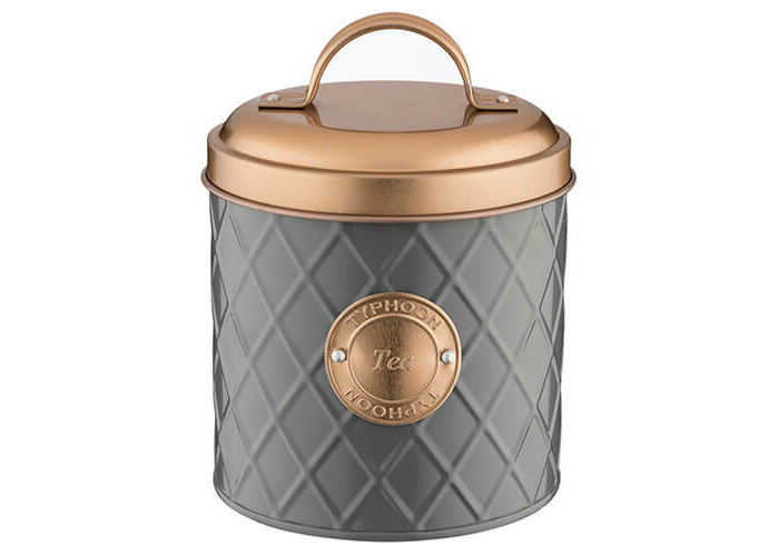Typhoon Living Stainless Steel Set of Tea Coffee Sugar Storage Jar Canister with Lid in Choice of Colours (Grey With Copper Lid - 2