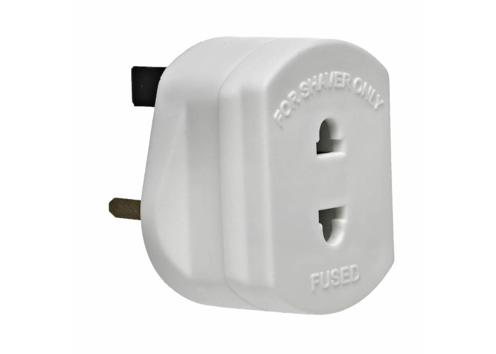UK 2 Pin To 3 Pin 1A Fuse Adaptor Plug For Shaver / Toothbrush - 1