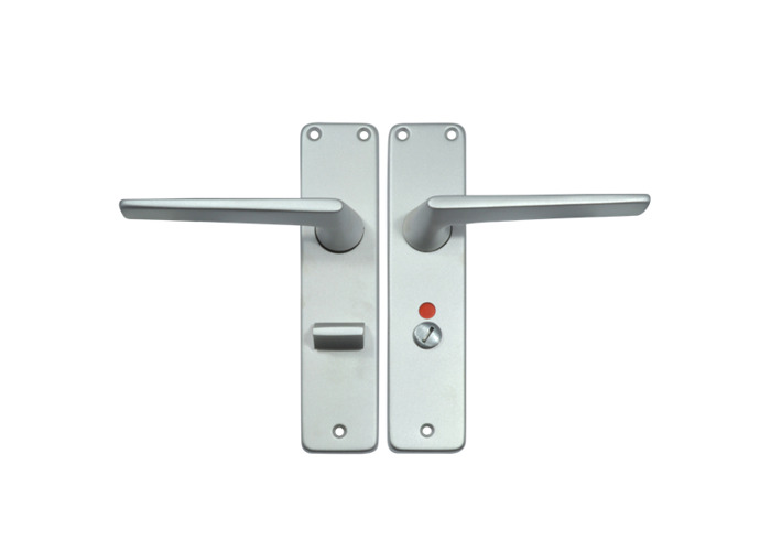 UNION 644 Teal Plate Mounted Lever Furniture - Anodised Silver Bathroom LH - 1