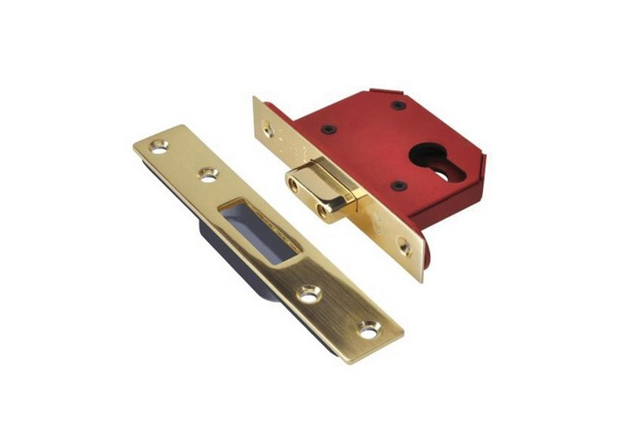 UNION JL21EUS-PB-2.5 StrongBOLT Euro Deadlock Plated Brass 68mm 2.5in - 1